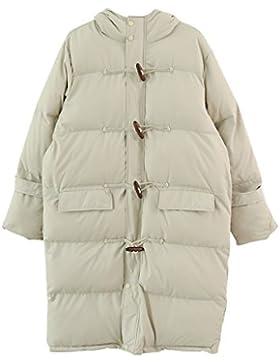 lime Chaqueta con capucha suelta elegante de invierno Abrigo cálido Abrigo de algodón con capucha larga de mujeres...