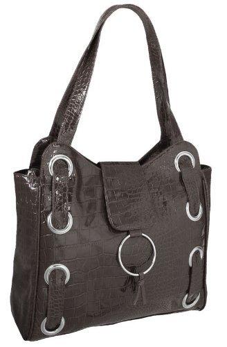 EyeCatchBags - Madison Handtasche Schultertasche aus Kunst Krokoleder Braun (Kunst Madison)