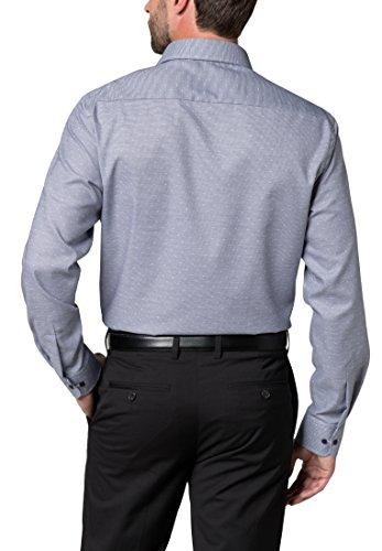 eterna Herren Businesshemd Fit Langarm Kariert mit Modern Kent-Kragen Marine