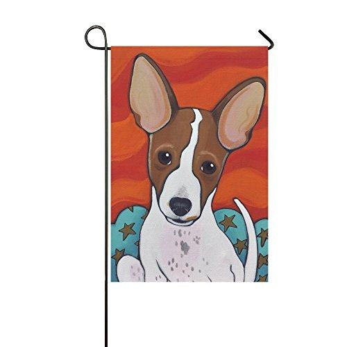 interestprint Lustige Tier Hund Lange Polyester Garten Flagge Banner Fahne Deko 30,5x 45,7cm, weiß Welpen mit riesigen Ohren für Hochzeitstag/für Home Outdoor Garden Decor (Welpen-flag)