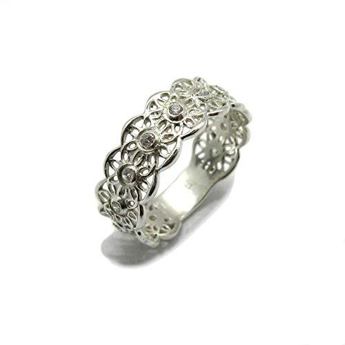 Silber Filigran Ring Blumenband mit CZ 925 Empress jewellery Größe 46-69 R001891