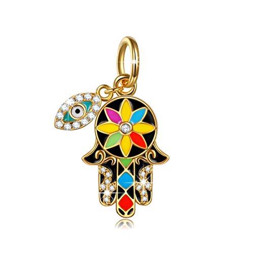 NinaQueen Mano De Hamsa Del Amuleto artificiales Abalorio de mujer de plata de ley Charms beads fit Pandora pulseras