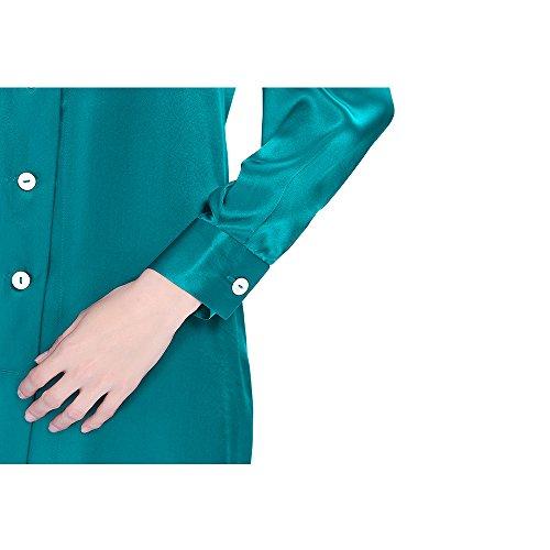 LilySilk Camicia Da Notte Seta Da Donna In 22 Momme Pura Seta A Manica Lunga Casuale Blu reale