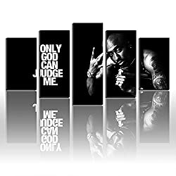 Karen Max Kunstdruck auf Leinwand, Motiv Tupac Only God Can Judge Me Tapete, Rahmenlos, Heimdekoration Size1:12x16inx2,12x24inx2,12x32inx1Frame