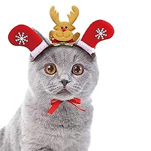 Costume de coiffe de Noël pour animaux de Compagnie,cadeau de Noël,Déguisement de noël, Accessoires de pour chat animaux (S, Rouge)