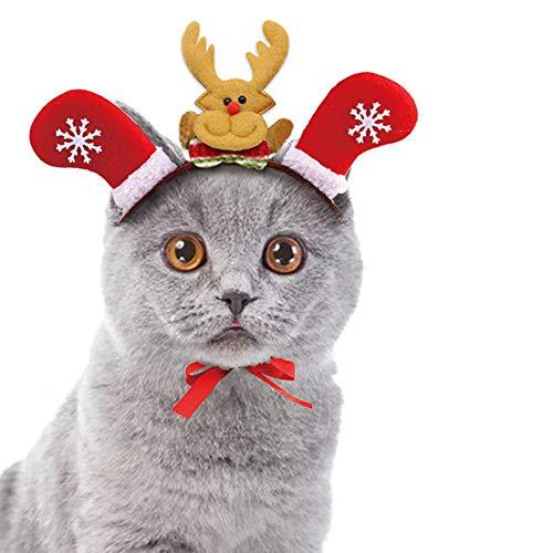 Tie langxian Haustier Katze Weihnachten Kopfschmuck Haustier Kopfbedeckung Kostüm für Katzen Haarzubehör (S)