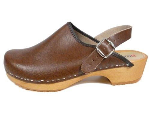 Buxa Unisex Holz und Leder Clogs / Pantoletten, Fersenriemen Braun
