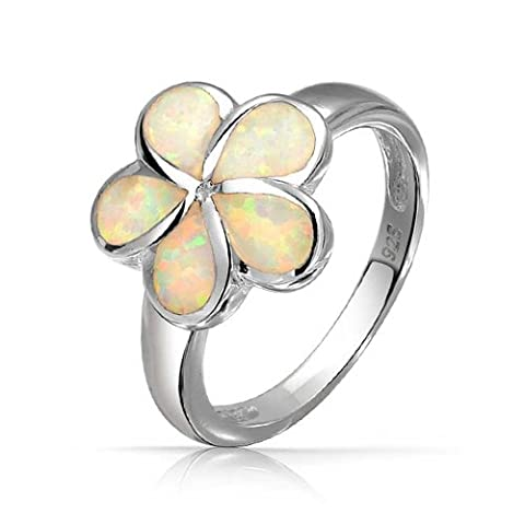 Bling Jewelry blanc Opal Inlay Hawaiian Plumeria Flower Ring 925