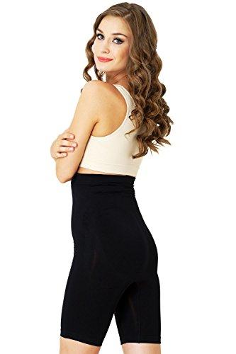 Formeasy Damen Shapewear Miederhose bauch weg stark formend Miederpants mit Bein Taillenformer Shaper angenehme figurformende Wäsche Schwarz