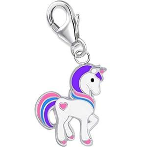 Einhorn mit Herz Charm Anhänger 925 Echt Silber Mädchen Damen Kinder Pferd