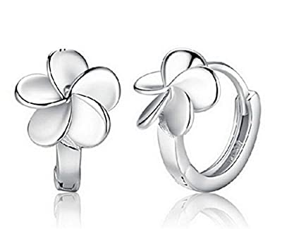 Boowhol Women's Earrings Zirconia 925 Sterling Silver Flowers Hoop Earrings Gift for Girls Kids