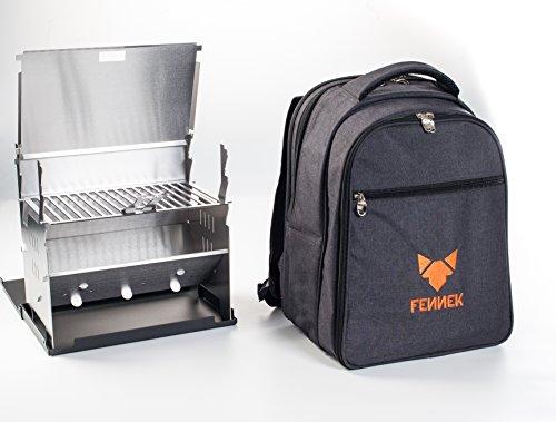 FENNEK Backpack Grill im Set, Picknick-Rucksack, Camping, Trekking, Wandern, Outdoor, mit Kühlfach und Zubehör für 4 Personen, Camping Grill - 6