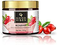 Good Vibes Rosehip Skin Whitening Face Mask - 110 g - Evens Skin Tone and Aids in Lightening Skin and Acne Sca