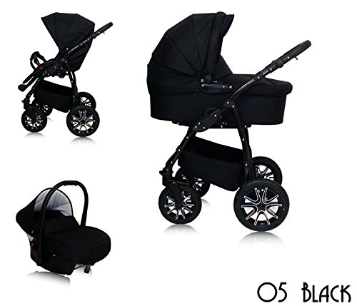 Alpina Kombi kinderwagen 3 in 1 Komplettset Autositz & Adapter, Regenschutz, Schwenkräder Made in EU all inclusive Paket (05 BLACK)