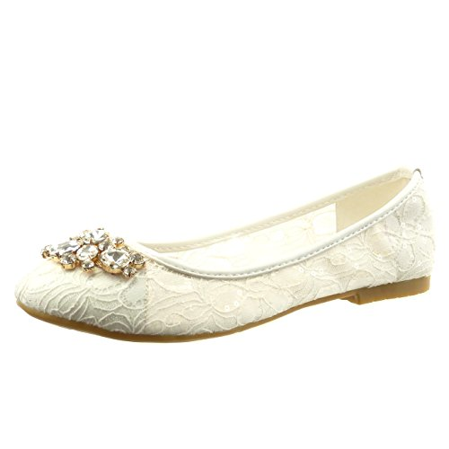 Sopily - damen Mode Schuhe Ballerina Slip-On Spitze Schmuck - Weiß