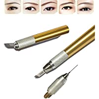 Pinkiou pluma de microblading de pluma de tatuaje para maquillaje de cejas de color (dorado)