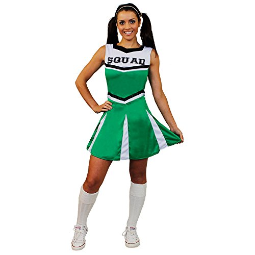 I love Fancy Dress ilfd4058l Damen Cheerleader Fancy Kleid Kostüm mit Squad Print und Faltenrock (groß) (Cheerleader-grün)
