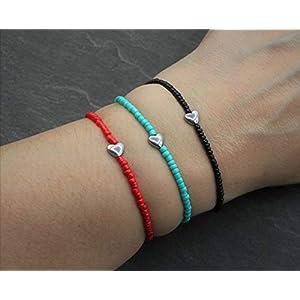 Armband Schwarz Rot Türkis Perlen Silber Herz Hämatit Perle Elastisch Zierlich Geschenk Geschenksidee Handmade Schmuck