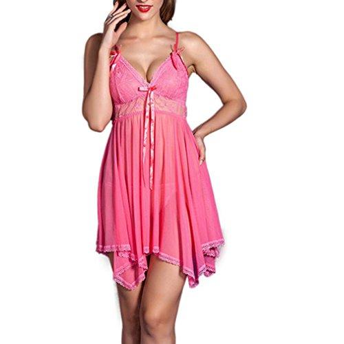 Medias Mujer, Amlaiworld Vestido transparente de la ropa interior del camisón del cordón (Rosa)