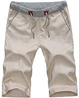 Tangda Kurze Hose Herren elastischer Bund Leinen Hose Short Strandhosen Sport Hosen (Größe/Farbe wählbar)