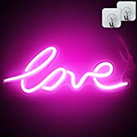 "XIYUNTE Love Neon Light, 17.5 x 7 inch LED Neon Signs Pink""Love"" Wall Sign, USB Powered Love Light, Night Lights Wall Decor for Kids Room,Bar,Party,Valentine"