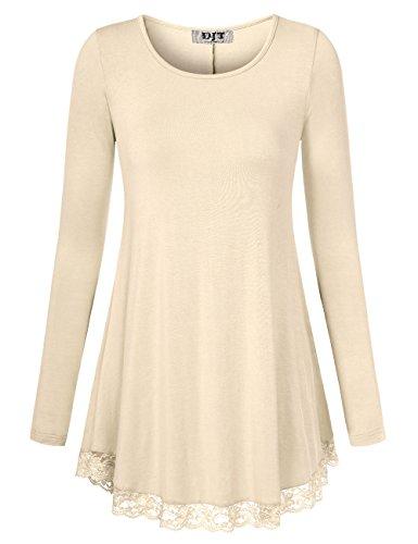 DJT Damen Langarmshirt V-Kragen T-Shirt Bluse mit Lace Hem Tunika Apricot 2XL (Tee Lace Stretch)