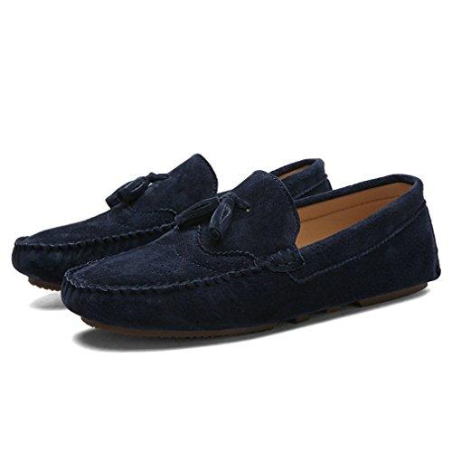 Xianshu Doux Respirant Moccasins Flâneur Plats Pantoufle Chaussures Bleu