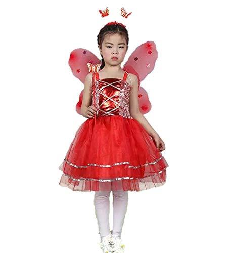 Matissa Kinder Mädchen 4 Stück Komplette Schmetterling Kostüm Set Fee Schmetterlingsflügel Alice Stirnband Tutu Kleid und Zauberstab (Rot) (Fee Kleid Rote)