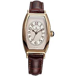 Fashion Simple Creative Rectangle Leather Strap Quartz Women Wrist Watch,Gold-Brown
