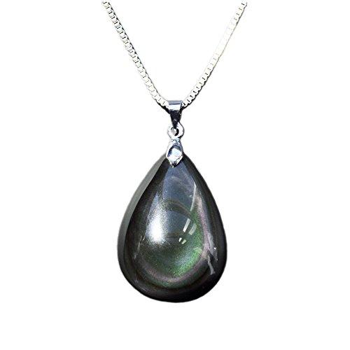 Collar con colgante de recuerdo en forma de lágrima, fabricado con una gema natural y auténtica, cadena de aleación de metal de 45,7 c