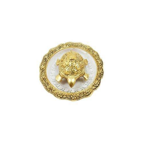 GAC Oxidized Gold Plated Lucky for Locker Fengshui Longevity Tortoise for Vaastu, 14x14cm(Golden)