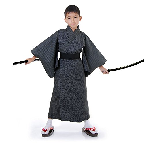 (Japaner Jungen Yukata Kimono Obi Samurai Kinder Fasching Karneval Kostüm Schwarz)