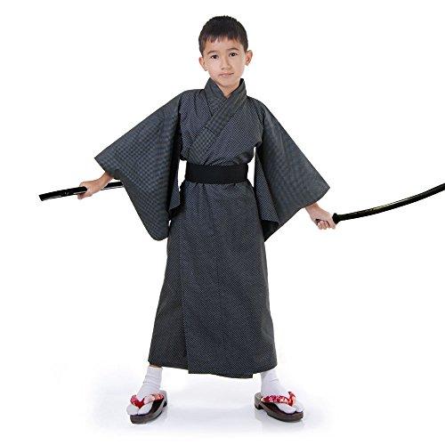 Princess of Asia Japaner Jungen Yukata Kimono Obi Samurai Kinder Kostüm (Boys 4-7 Jahre, (Geisha Samurai Kostüm)