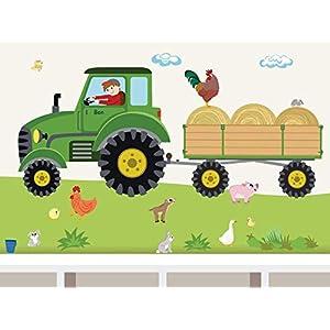 """Wandtattoo""""Traktor Anhänger MAXI"""" Bauernhof personalisierbarer Wandsticker für Kinderzimmer und Babyzimmer"""