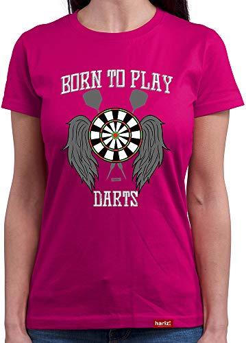 HARIZ  Damen T-Shirt Rundhals Born to Play Darts Dart Sprüche Dartpfeile WM Inkl. Geschenk Karte Pink XL