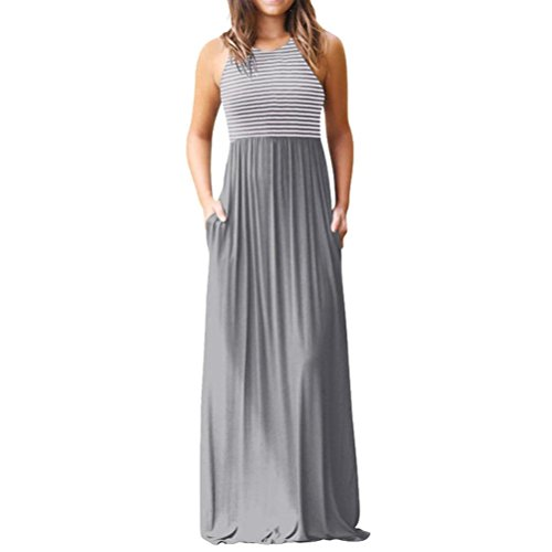 Trada Sommerkleider, Damen Casual Sleeveless Print Gestreiftes Maxi Tank Langes Kleid...