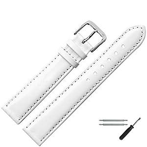 MARBURGER Uhrenarmband 16mm Leder Weiss – Werkzeug Montage Set 8071620000120