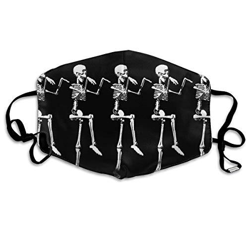 alloween, bewegliches Skelett-Totenkopf-Design, Schwarz mit Ohrschlaufen - verstellbares elastisches Band für Klettern, Wandern, Anti-Smog Anti-Staub-Mund-Mund-Maske/Abdeckung ()
