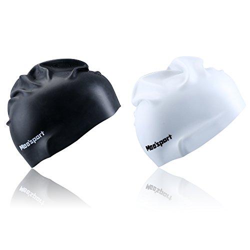 Mee'sport 2 pacchi cuffia da nuoto silicone, cuffia nuoto prestazione impermeabile professionale elasticità perfetta per gli uomini o le donne perfetti per swimming, tuffantesi, snorkeling e surfing