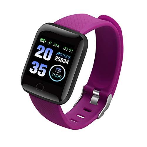 LQXXX 116 Plus Smartband Blutdruck-Herzfrequenzmesser Smartband Fitness-Tracker wasserdicht Android IOS Smartband-Lila