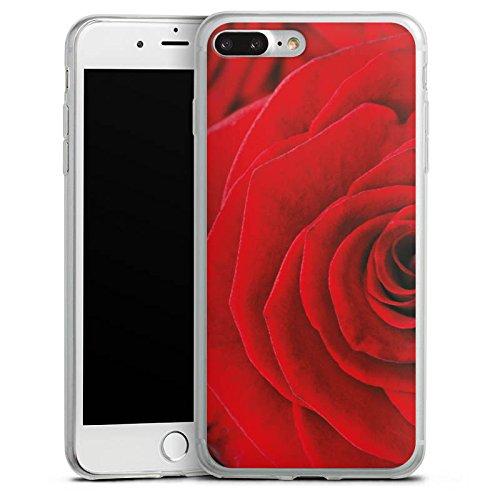Apple iPhone 8 Slim Case Silikon Hülle Schutzhülle Rot Rosen Blumen Silikon Slim Case transparent