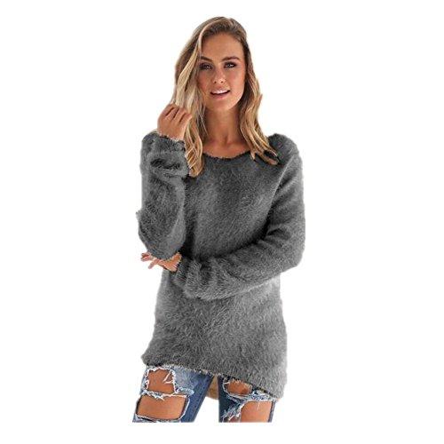 FORH Damen Mode O-Hals Einfarbig warm weich Lange Ärmel Pullover Pullover Bluse (Größe:S/M/L/XL/2XL/3XL))
