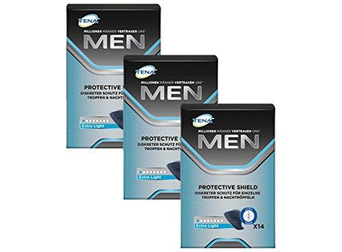 TENA MEN Protective Shield Extra Light für leichte Blasenschwäche / Inkontinenz (3 Packungen x je 14 Einlagen)