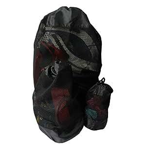 KurtzyTM 3 Sacs Filets Noirs en Polyester, Rangement pour le linge sal ou Sport, fermetures à Cordon