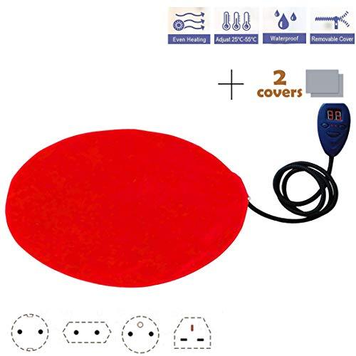 HABITREE Pet Heizung Pad Katze/Hund Elektrische Selbst Heizmatte Wasserdicht Einstellbar Kauenfeste Stahlschnur 30X30 cm 12 V, Red,Europeanplug -