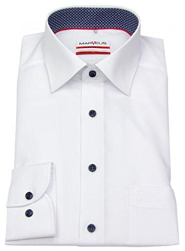 Marvelis Hemd, Modern Fit, Weiß, Extra Langer Arm 69cm, Bügelfrei, New Kent Kragen, 100% Baumwolle (43)