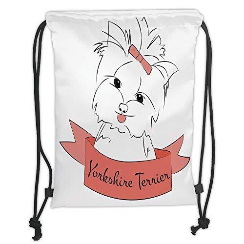LULUZXOA Gym Bag Printed Drawstring Sack Backpacks Bags,Yorkie,Cute Puppy with Hair Buckle Yorkie Terrier Animal Ribbon Cartoon Character Print Decorative,Pink White Soft Satinrin