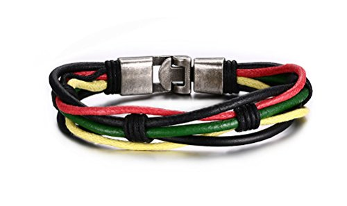 Murray Feiss Arts (Vnox Herren Edelstahl Multi Layer Leder Wickel Armband,21 cm)