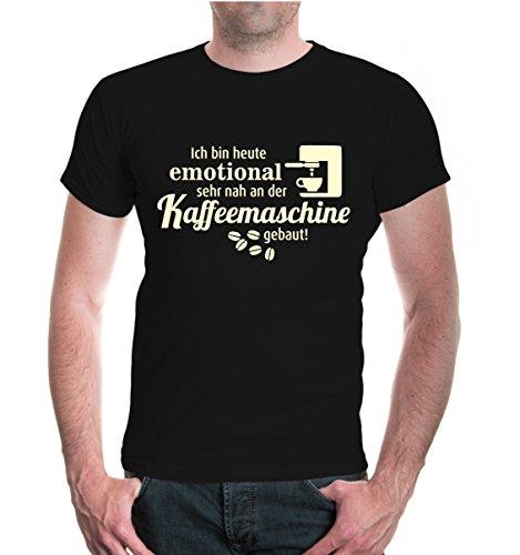 buXsbaum® T-Shirt Ich bin heute emotional sehr nah an der Kaffeemaschine gebaut Black-Beige