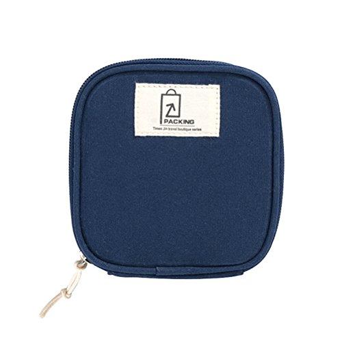 OUNONA Kleine Aufbewahrungstasche Reisen Kosmetik Make-up Toiletry Organizer Tasche Ladegerät Kabelbeutel für Zuhause und Reisen (Dunkelblau)